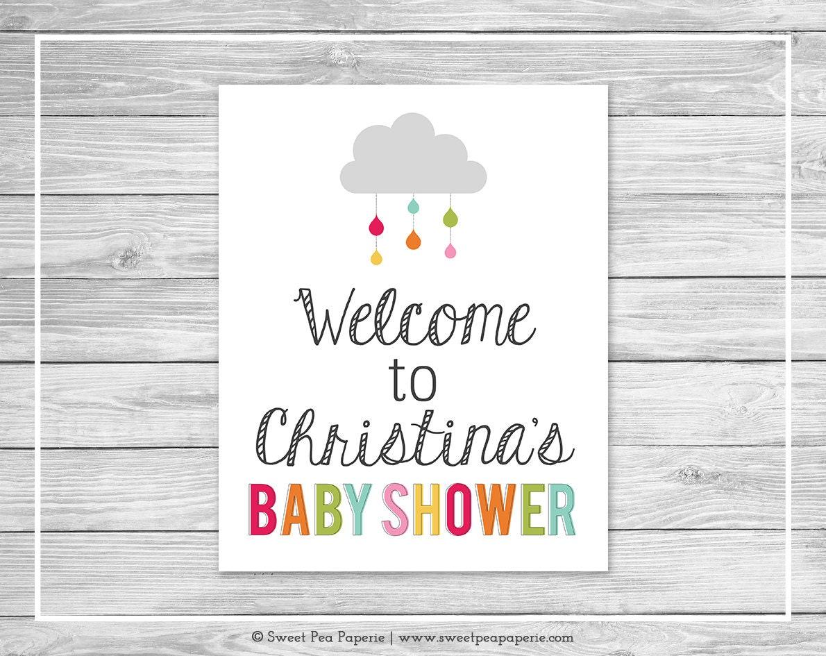rainbow showers baby shower welcome sign printable baby