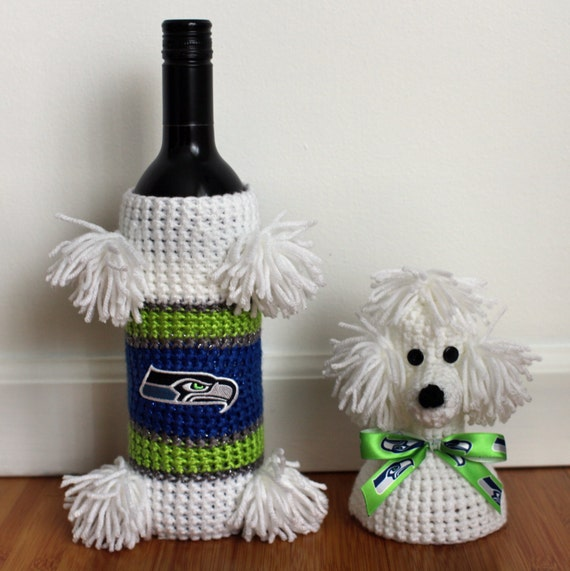 Crochet Poodle Wine Bottle Covers Crochet Seattle Seahawks