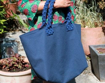 blue cotton canvas tote bag