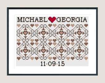 Mr and Mrs cross stitch pattern - perfect wedding gift