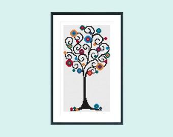 Cross stitch pattern, modern cross stitch pattern, instant download, spiral tree
