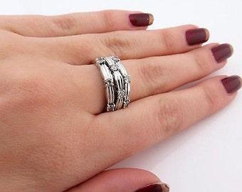 Sterling Silver Three Row C Z Elegant Ring, Size 7