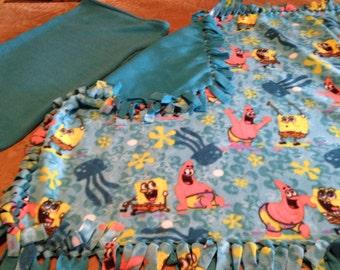 Handcrafted Fleece Spongebob Blanket with FREE Matching Pillowcase