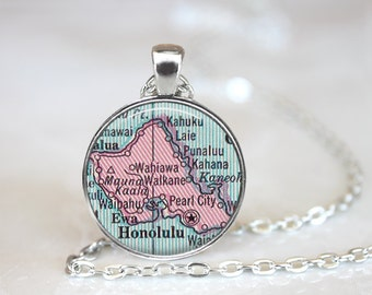 Map Necklace, Honolulu map Necklace, Honolulu Map Jewelry, Map Jewelry, Honolulu Hawaii Map