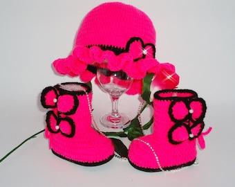 Pink Girl Boots, Crochet Baby Boots, Crochet baby Shoes, Baby Newborn Set, Baby Hat, Newborn Baby Gift, Handmade gift, Baby Set, Crochet Set