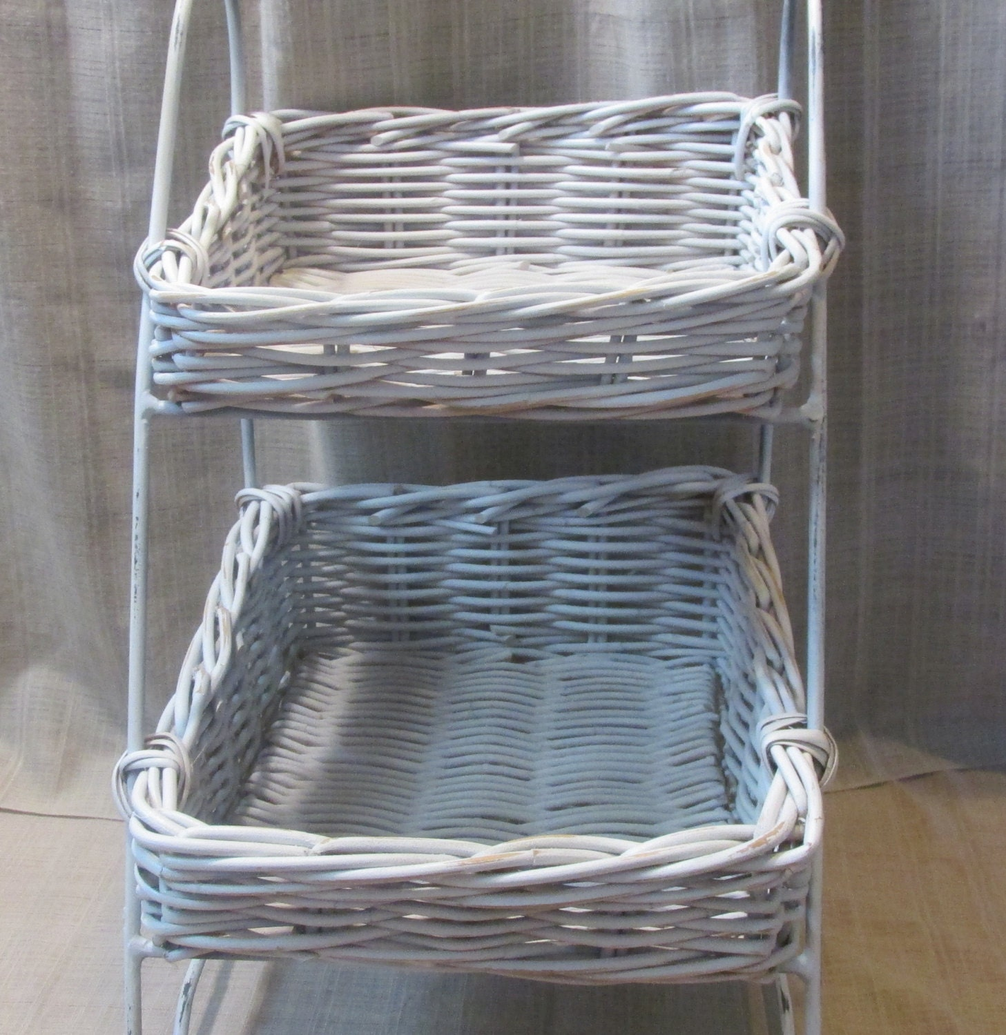 Lovely White Wicker Two Tier Basket Shelve Shabby Chic