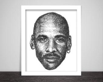 Scribbled Michael Jordan - Poster
