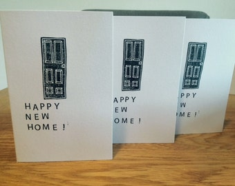 Happy New Home Lino Print Greeting Cards