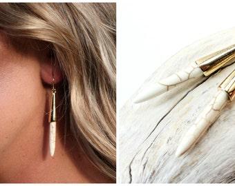 Turquoise Earrings, Turquoise Spike Earrings, Britt inspired earrings, Top Selling Earrings, White Turquoise Earrings, Best Selling Earrings