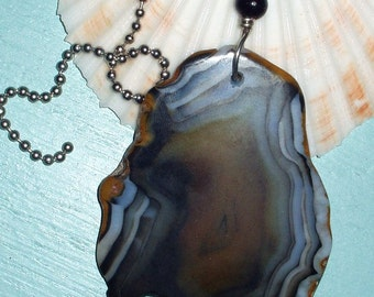 Stunning Natural Agate Slice Fan Pull Lamp Pull - Protection Stone - 79x61x5mm