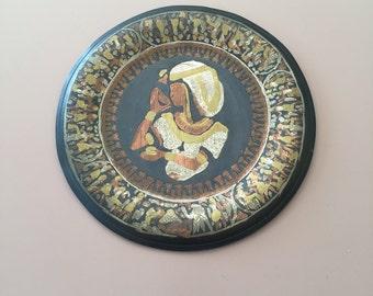 Vintage Egyptian Metal Wall Hanging Plate