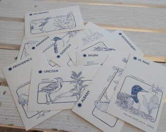 Vintage States and Capitals Flash Cards