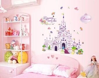 Wall Sticker Decal Princess Castle Girl Kids Children Bedroom Daycare Home  Decor DIY Removable Vinyl