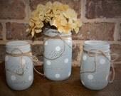 Blue and white polka dot baby shower nursery bathroom decor painted chalk paint mason jar vase set pint quart Ball Labor Day