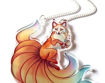 Nine Tailed Kitsune Fox Clear Acrylic Necklace