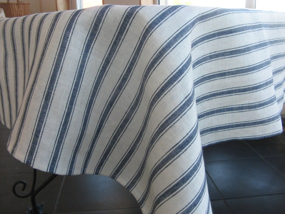 Linen Tablecloth Blue White Striped For Dining Kitchen Table