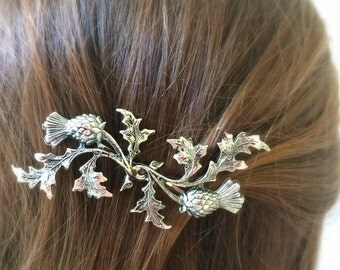 Silver Scottish Thistle Hair Pin leaf Bobby Pin Bridal Hair Pin Bridal Hair Clip Woodland Wedding Scottish Bridal Hair SOLDERED NOT GLUED!