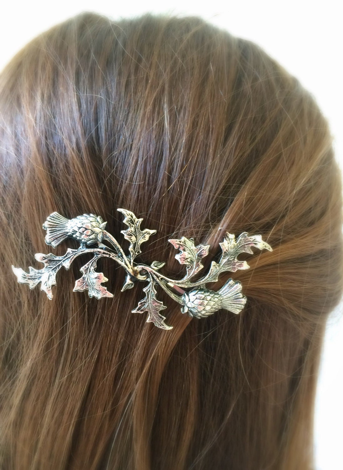 Silver Scottish Thistle Hair Pin Leaf Bobby Pin By