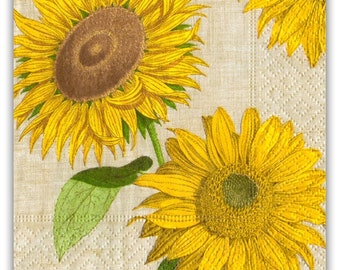 """Sunflower Party Napkins - Paper Napkins for Decoupage - """"Under the Sun"""" Guest Towel, Beverage, Lunch Sizes"""