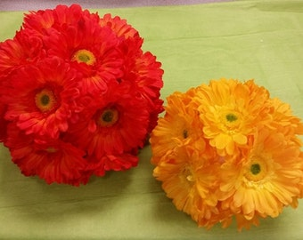 Artificial Gerber Daisy Flowers in Orange, Yellow - Bulk as low as .75 or Individual