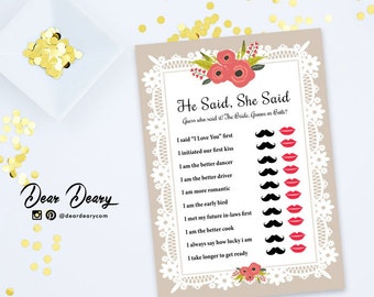 Brown Bridal Shower Games He Said, She Said, Printable Lace Flower Bridal Party -INSTANT DOWNLOAD - C024
