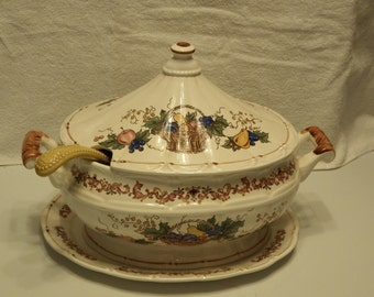 SOUP TUREEN with PLATTER and Ladle,Spring Harvest Tureen Set,  Made in Japan Tureen Set