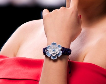 Chinese Jasmine flower macramé china bracelet blue flower bracelet china bracelet porcelain macrame band china bracelet blue macrame china