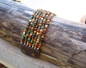 Turquoise and Wooden Bead Bracelet/Cuff