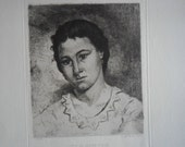 Fine Art Etching  Tete de Jeune Fille by Eugene Joseph Henri Smits  1875 on handlaid paper uncut original and rare. Head of Young Woman