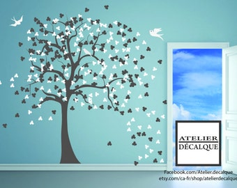 Wall Decal no. S -0023 - two colors tree leaf