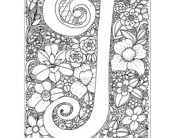 instant digital download adult coloring page letter i