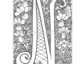 Instant Digital Download - adult coloring page - letter N