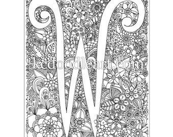 instant digital download, letter W, adult coloring page