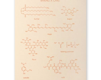 Chemistry Baking A Cake Poster - 8x10 inches, unframed - foodie, chef, cook, baker gift
