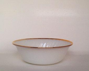 Vintage. Fire King. White Glass. Gold Rimmed. Bowl