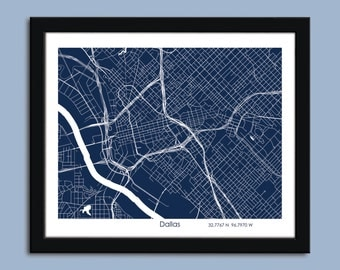 Dallas map, Dallas city map art, Dallas wall art poster, Dallas decorative map print