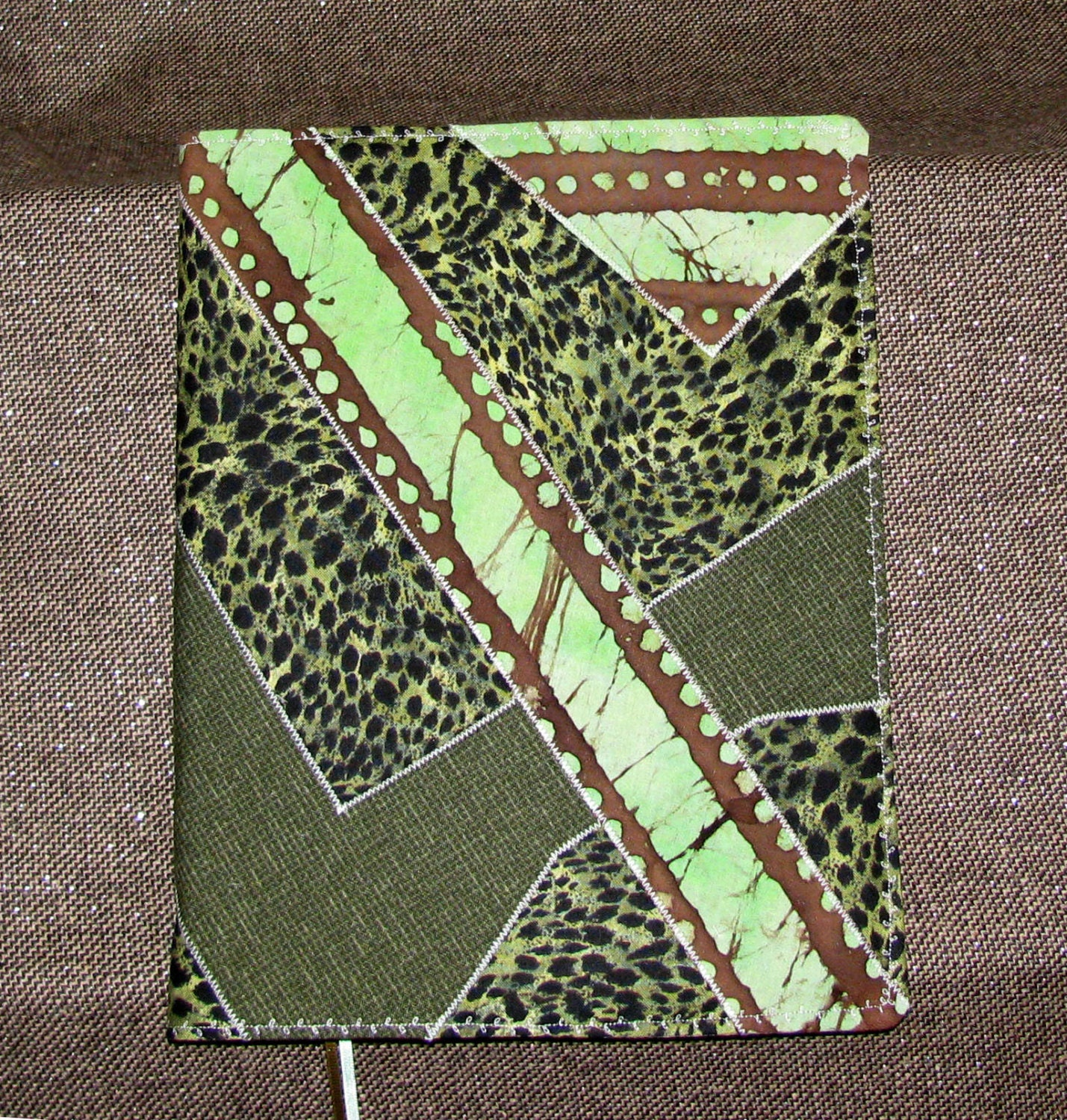 Fabric Cover For Composition Book ~ Fabric composition notebook cover green geometric angles