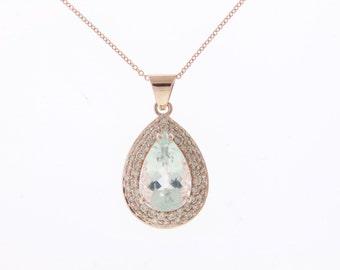 Magnificent Halo Design Aquamarine & Diamond Pendant  C13667