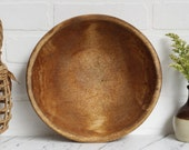 Rustic Wooden Bowl / Primitive Antique Carved Wooden Bowl / French Country Kitchen Decor / Bohemian Kitchen Decor / Vintage Farm House Decor