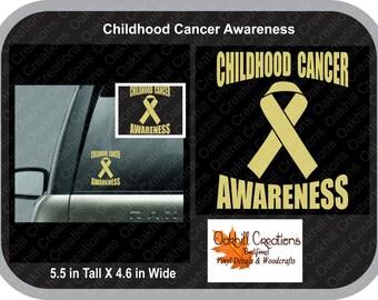 Childhood Cancer Awareness Ribbon Decal, car window sticker