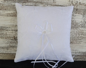 Wedding Ring Bearer Pillow, Ivory/White Wedding Ring Pillow- Pearl Rhinestone Accent