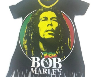 Bob Marley Baby  Dress Toddler Dress Upcycled from Men's tee