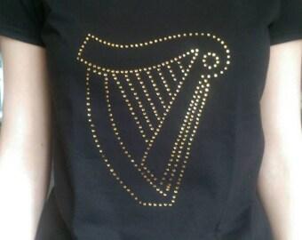 Irish harp design in rhinestones