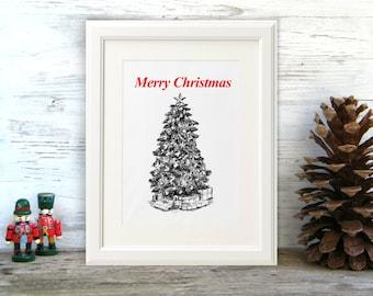 Christmas tree print, Merry Christmas, Christmas tree clipart, Printable wall art, Christmas decor, Christmas signage