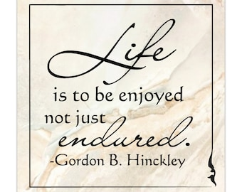 Life is to be enjoyed not just endured tile