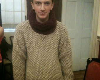 Mens wool  jumper, chunky knit wool , hand knitted jumper , 100% wool, men's hand knit jumper , men's cowl neck jumper