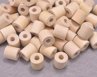 20pcs Geometric Wood Beads,Natural Polyhedron Tube Wooden Beads ,DIY, Jewelry Supply, Wood Crafts