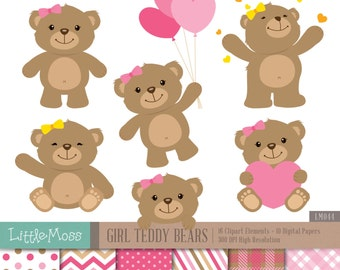 Girl Teddy Bears Digital Clipart and Papers