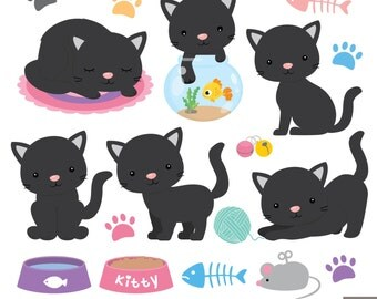 Black Kitties Digital Clipart, Black Cat Clipart