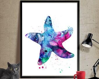 Starfish Watercolor Art, Watercolor Painting, Watercolor Animal Home Decor, Starfish Poster Wall Art, Watercolor Print (110)